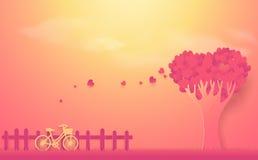 Begrepp för dag för valentin` s Träd som göras ut ur hjärtor och cykeln Fotografering för Bildbyråer