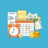 Begrepp för dag för skattbetalning Federal skatt för inkomst, månatlig amortering, tidsperiod Finansiell kalender, fakturor Avlön royaltyfri illustrationer