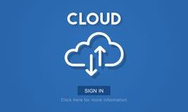 Begrepp för data för teknologi för lagring för molnberäkningsnätverk royaltyfri illustrationer