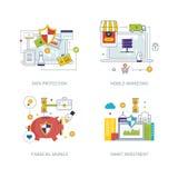 Begrepp för dataskydd, mobil marknadsföring, finansiell strategi, smart investering Royaltyfri Foto