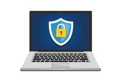 Begrepp för datorsäkerhet och för dataskydd med den sköldsymbolen och hänglåset royaltyfri illustrationer