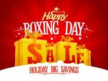 Begrepp för design för försäljning för boxningdag med guld- gåvaaskar Royaltyfri Fotografi