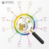 Begrepp för design för investeringanalysdiagram med förstoringsglaset Arkivbild