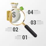 Begrepp för design för investeringanalysdiagram med förstoringsglaset också vektor för coreldrawillustration Royaltyfri Bild