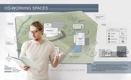 Begrepp för design för ritning för översikt för plan för arkitektur för funktionsdugligt utrymme för Co royaltyfri foto