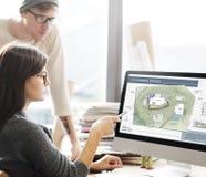 Begrepp för design för ritning för översikt för plan för arkitektur för funktionsdugligt utrymme för Co arkivbild