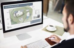 Begrepp för design för ritning för översikt för plan för arkitektur för funktionsdugligt utrymme för Co arkivfoto