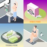 Begrepp för design 2x2 för hygien isometriskt royaltyfri illustrationer