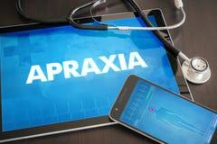 Begrepp för diagnos för Apraxia (neurological oordning) medicinskt på flik Royaltyfria Bilder