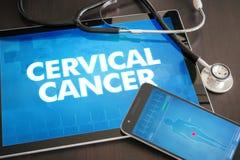 Begrepp för diagnos för cervikal cancer (cancertyp) medicinskt på tabellen arkivbilder