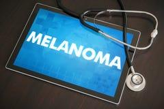 Begrepp för diagnos för melanom (cancertyp) medicinskt på minnestavlastenras arkivfoton