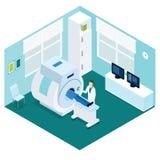 Begrepp för diagnostiskt tillvägagångssätt för MRI isometriskt stock illustrationer