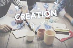 Begrepp för diagram för kreativitetdesignprocess royaltyfri bild
