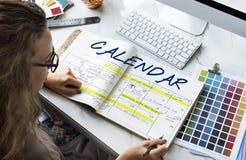 Begrepp för diagram för schema för dagordningschemakalender Arkivbild