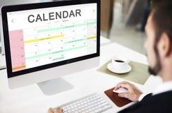 Begrepp för diagram för schema för påminnelse för möte för kalenderdagordninghändelse Royaltyfri Bild