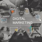 Begrepp för diagram för teknologi för Digital marknadsföringsmassmedia arkivbilder