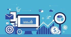 Begrepp för digital marknadsföring för affär online- stock illustrationer