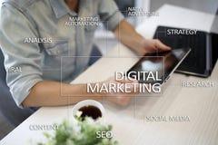 Begrepp för Digital marknadsföringsteknologi Internet Direktanslutet SökandemotorOptimisation SEO SMM annonsering arkivbilder