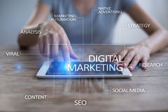 Begrepp för Digital marknadsföringsteknologi Internet Direktanslutet SEO SMM annonsering arkivbilder