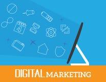 Begrepp för Digital marknadsföringsvektor Arkivbild