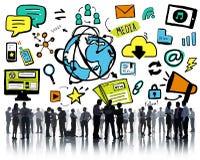 Begrepp för diskussion för teknologi för massmedia för affärsfolk globalt royaltyfri illustrationer