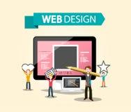 Begrepp för DTP för rengöringsdukdesign med idérika formgivare och datoren stock illustrationer