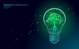 Begrepp för ekologi för energi för lampa för ljus kula sparande Polygonal ljust - blått träd inom för energimakt för elektricitet royaltyfri illustrationer
