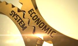 Begrepp för ekonomiskt system gears guld- 3d Royaltyfri Fotografi