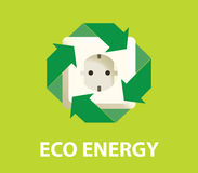 Begrepp för elektricitet för Eco gräsplanenergi förnybart stock illustrationer