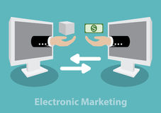 Begrepp för elektronisk marknadsföring Fotografering för Bildbyråer