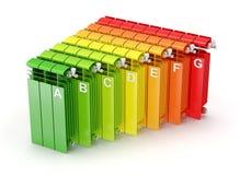 Begrepp för energieffektivitet med uppvärmningelement Fotografering för Bildbyråer