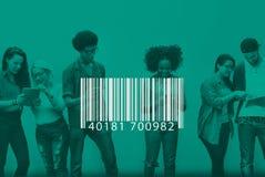 Begrepp för etikett för kryptering för BarcodeIDetikett Arkivfoto