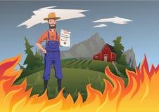 Begrepp för försäkring för bonde` s, vektorillustration Brand på lantgården En lugna bonde står och rymmer försäkringen i hans royaltyfri illustrationer