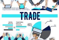 Begrepp för försäljningar för aktiemarknad för handelmarknadsföringskommers Royaltyfria Bilder