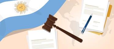 Begrepp för försök för lagstiftning för rättvisa för dom för Argentina lagkonstitution lagligt genom att använda den flaggaauktio stock illustrationer