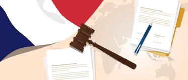 Begrepp för försök för lagstiftning för rättvisa för dom för Frankrike lagkonstitution lagligt genom att använda den flaggaauktio stock illustrationer
