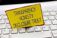 Begrepp för förtroende för avslöjande för ärlighet för stordia för handskrifttexthandstil som betyder företags Will för politisk  arkivfoto