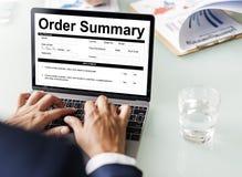 Begrepp för faktura för form för summariskt dokument för beställning Arkivbilder