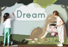 Begrepp för fantasi för ungebarnbarndom lyckligt royaltyfri bild