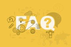 Begrepp för FAQ-webbsidabaner med den tunna linjen lägenhetdesign Arkivfoton