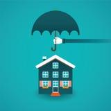 Begrepp för fastighetförsäkringvektor i plan stil royaltyfri illustrationer