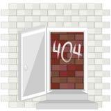 Begrepp för fel 404 med den blockerade dörren Arkivfoto