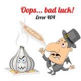 Begrepp för fel 404 med vampyren och vitlök Fotografering för Bildbyråer