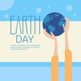 Begrepp för ferie för skydd för värld för dag för jord för handhålljordklot globalt ekologiskt vektor illustrationer