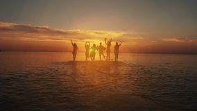 Begrepp för ferie för sommar för kamratskapfrihetsstrand Skönhet och glade tonåringvänner som har gyckel, dans som över besprutar lager videofilmer