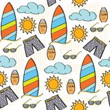 Begrepp för ferie för sommar för modell för klottertecknad film sömlöst stock illustrationer