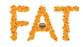 Begrepp för feta celler Fet isolat för ord på vit bakgrund stock illustrationer