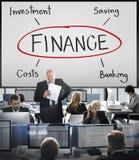 Begrepp för finansbankverksamhet inom huvudsakligen värdepappershandelkostnad royaltyfria foton