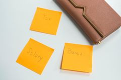 Begrepp för finansiell status - lön, bonus och skatt med den gulliga plånboken för kvinnor för pengar arkivfoton