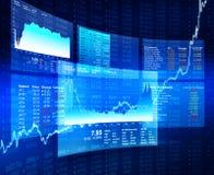 Begrepp för finansiella data med blå bakgrund Fotografering för Bildbyråer